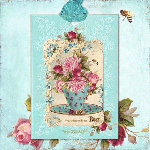 Gift Tag Decoration Favor Gift Wrap Tea Cup Roses