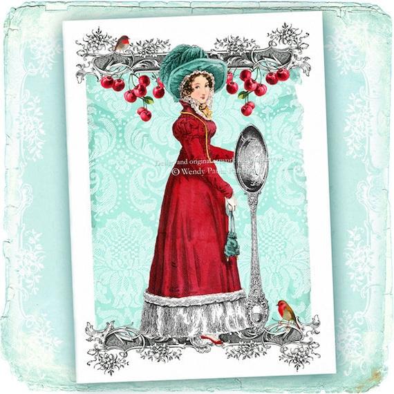 Jane Austen Regency Christmas Card Lady in Red