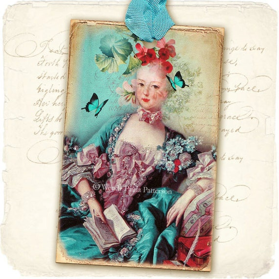 French Rococo Gift Tags Madame De Pompadour Marie Antoinette aged distressed shabby