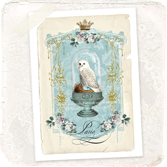French Snowy White Owl in a Cloche Bell Jar Woodland Greeting Card