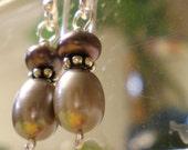 SALE -Ipu Heke -Peacock Freshwater Pearl Earrings