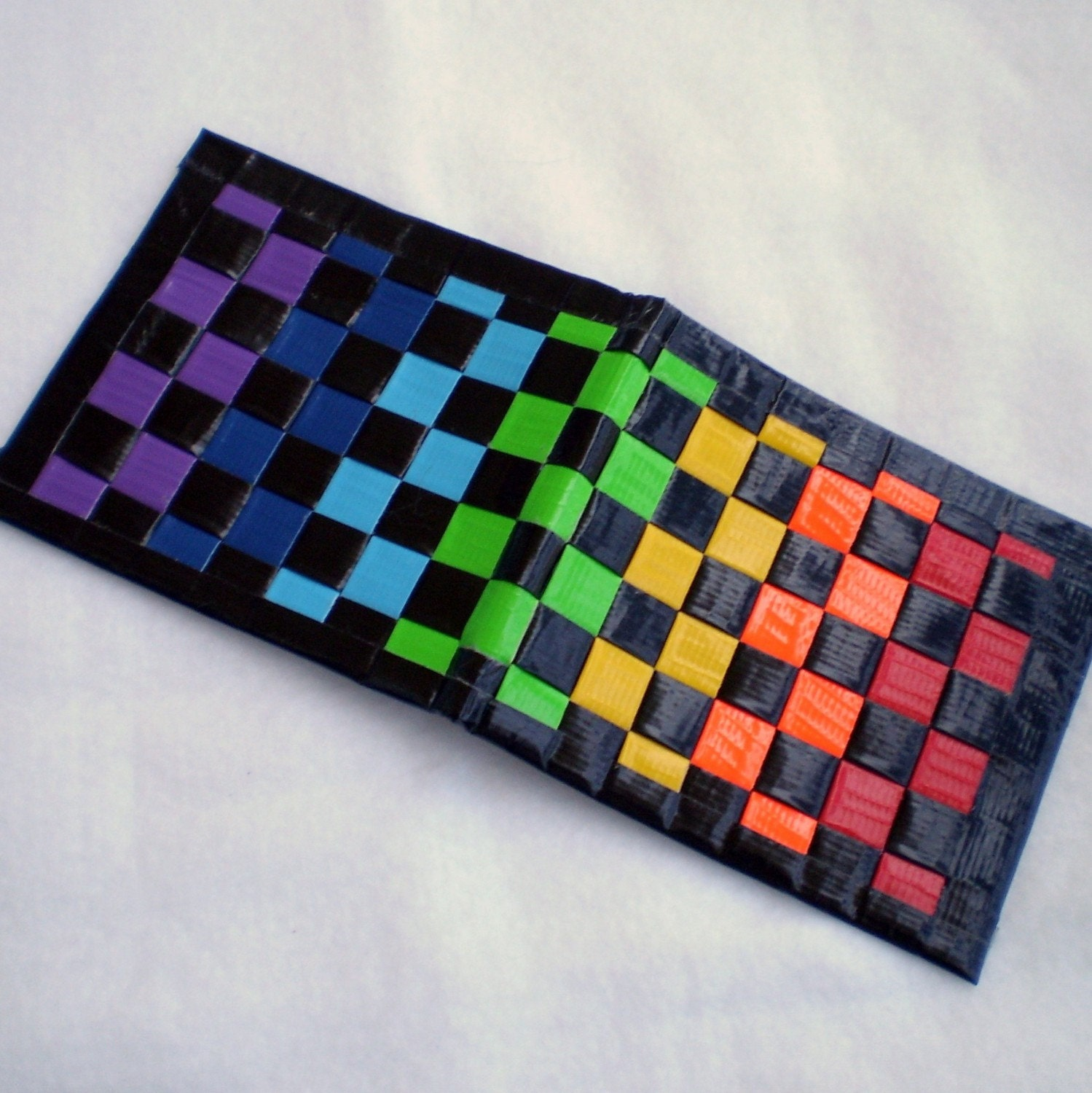 Rainbow Duct Tape Wallet With Red Interior
