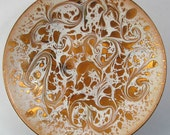 Abstract White on Amber - Hand Painted Enamel on Copper