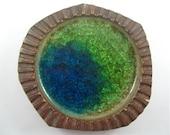 Green-Blue Crackle Glass - Robert Maxwell Hand-Made Pottery