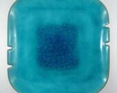 Mod Aqua Blue Tray - Hand-Painted Enamel on Copper