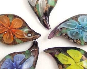 55x12mm Flower Glass Pendant
