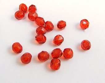 6mm Czech Glass Red Beads