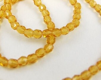 4mm Amber Czech Glass Beads