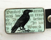 Raven on Text Belt Buckle, Nevermore