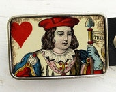 Vintage Playing Card Belt Buckle- Jack of Hearts, Father's Day