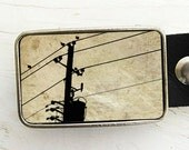 Birds on Telephone Wire Belt Buckle -  in sepia
