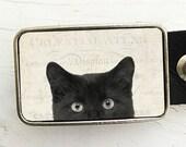 Belt Buckle Black Cat- Halloween Belt Buckle- Peeping Tom