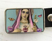 Blessed Heart Virgin Mary, Madonna Belt Buckle, gifts under 30