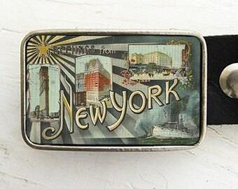 Vintage New York Postcard  Belt Buckle