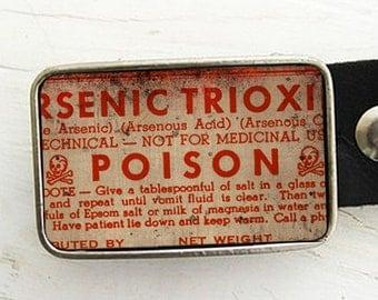 Vintage Poison Label Belt Buckle, Halloween