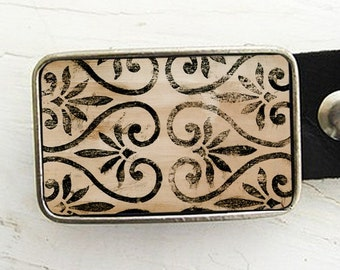 Vintage Shabby Painted Scroll Belt Buckle
