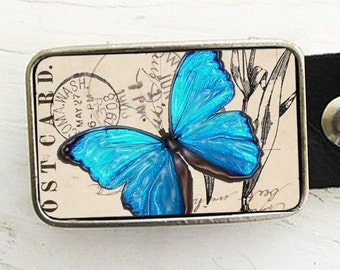 Blue Butterfly Belt Buckle