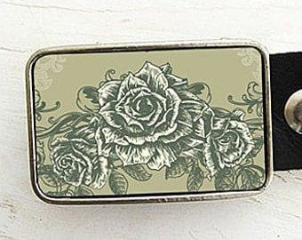 Vintage Rose Belt Buckle
