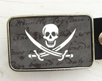 Pirate Flag Belt Buckle- Jolly Roger - Halloween