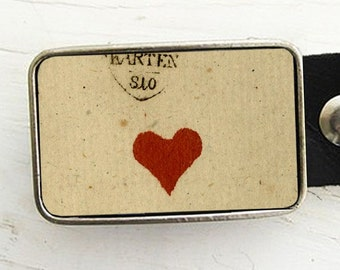 Single Red Heart Belt Buckle, Valentine, Valentine's Day