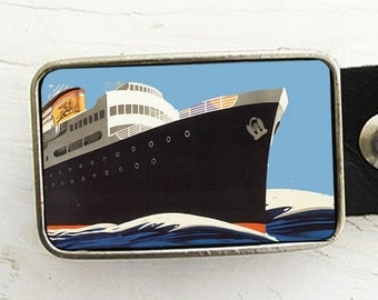 Nautical Belt Buckle- Vintage Ocean Liner