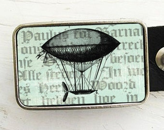 Turquoise Steampunk Airship Belt Buckle