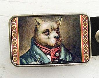 A Dapper Dog Belt Buckle-