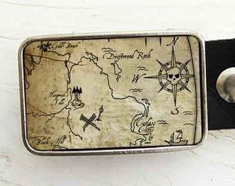 Treasure Map Belt Buckle - Pirate Style