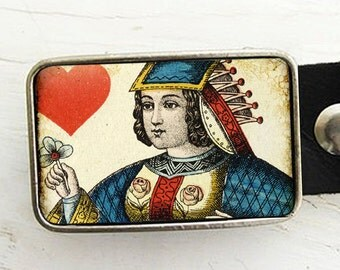 Queen of Hearts, Vintage Playing Card Belt Buckle