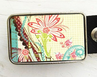 Vintage Flower Belt Buckle -Shabby Chic