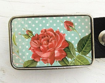 Floral Belt Buckle, vintage rose belt buckle, shabby