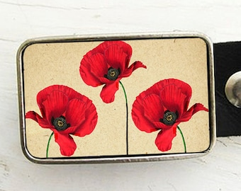 Three Red Poppies Belt Buckle
