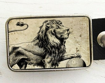 Zodiac Astrology Belt Buckle - Leo- The Lion