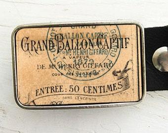Vintage Hot Air Balloon Ticket Belt Buckle