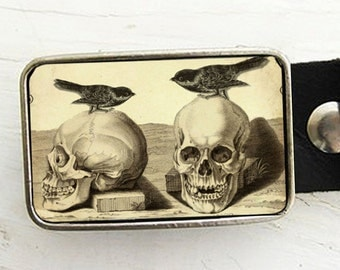 Gothic Skull with Birds Belt Buckle - Halloween - Skeleton