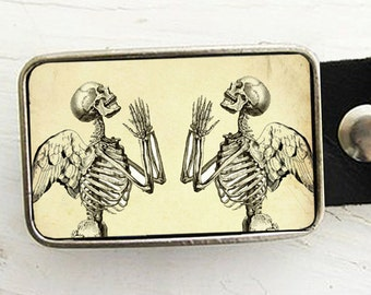 Praying Skeletons Belt Buckle - Skeleton Belt Buckle