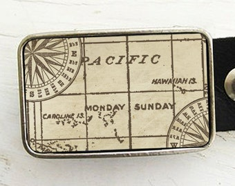 Double Compass Belt Buckle- Nautical Style- Groom, Groomsmen Gift
