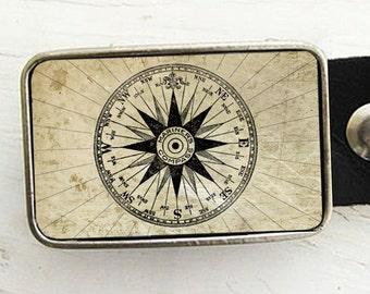 Mariner's Compass Belt Buckle, Groom, Groomsmen Gift