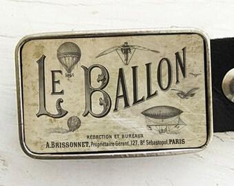 Steampunk Belt Buckle- Vintage Hot Air Balloon Belt Buckle