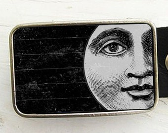 Vintage Moon Belt Buckle, Halloween, Galaxy,