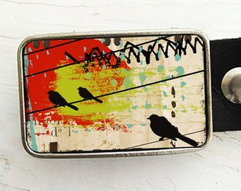 Abstract Birds Belt Buckle