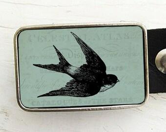 Swallow Belt Buckle, Teal Bird Belt Buckle