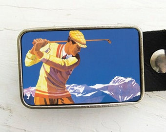 Deco Golfer Belt Buckle, Father's Day
