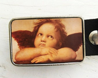Cherub Belt Buckle, Christmas Holiday Belt Buckle