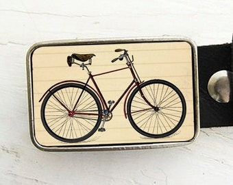 Red Bicycle Belt Buckle, Vintage Bike Belt Buckle