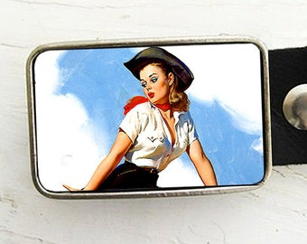 Pinup Cowgirl Belt Buckle, western belt buckle