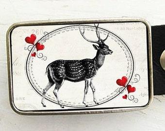 Deer Love Belt Buckle, Valentine Belt Buckle, Woodland Romance