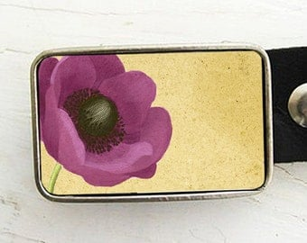 Purple Poppy Belt Buckle, Mother's Day