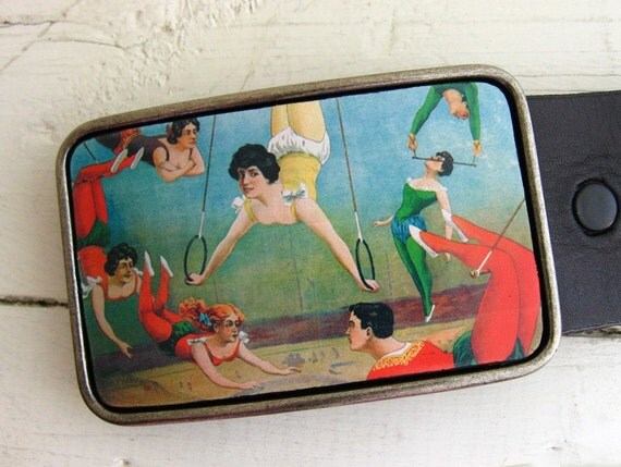 Vintage Circus Acrobats Belt Buckle