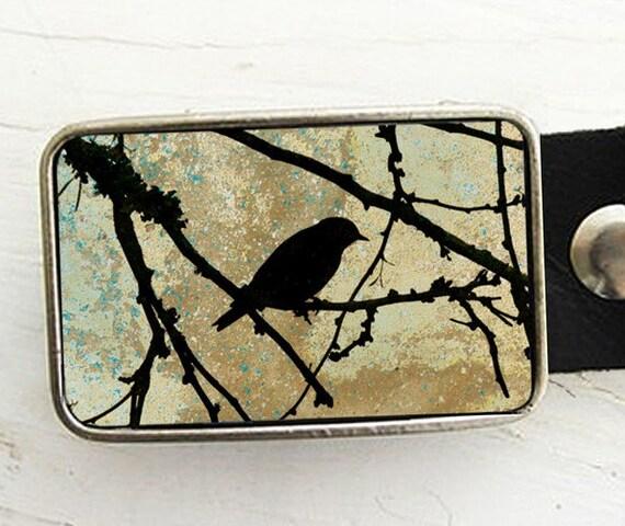 Leather Belt Buckle- Lone Bird in Tree